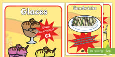 Cafe Role Play Food - Display Posters -  French