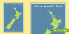 New Zealand Map Display Posters