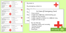 Autism In Case of Emergency Information Cards