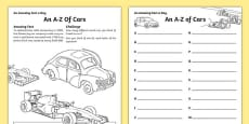 An A-Z of Cars Activity Sheet
