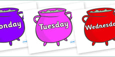 Days of the Week on Cauldrons (Multicolour)