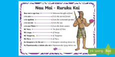 Rurukai Kai A4 Display Poster English/Te Reo Māori