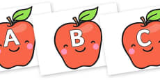 A-Z Alphabet on Cute Smiley Apple