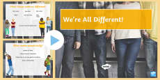 * NEW * We're All Different PowerPoint