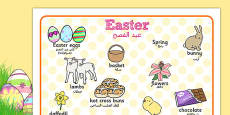 Easter Word Mat Arabic Translation