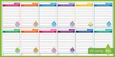 Monthly Birthdays Cupcake Page Border Pack