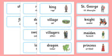 St George and the Dragon Story Word Cards Romanian Translation