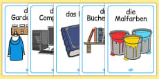 Classroom Objects Display Posters German