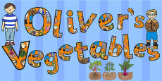 Oliver's Vegetables Title of the Book Display Lettering