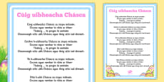 Five Easter Eggs Counting Song Sheet Gaeilge