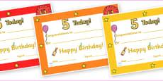 Editable Birthday Certificates (Age 5)