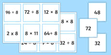 Multiplication and Division Facts For The 8 Times Table Matching Cards
