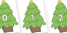 Numbers 0-100 on Christmas Trees (Plain)