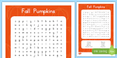 Fall Pumpkins Word Search