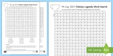FA Cup Chelsea Legends Word Search Activity Sheet