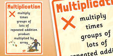 Autumn Themed Multiplication Vocabulary Display Poster
