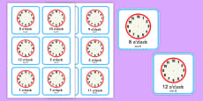 Write the Time O'Clock Cards Romanian Translation