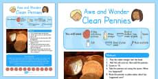 Clean Pennies Awe and Wonder Science Activity