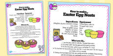 Chocolate Eggs in Nests Recipe Sheet