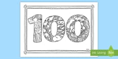 100 Days of School Mindfulness Colouring Page