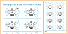 Multiplying by 6 and 7 Function Machines