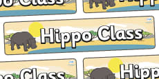 Hippo Themed Classroom Display Banner