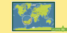 UAE On a World Map