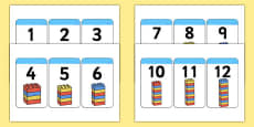 Build A Tower 1-20 Building Block Number Cards