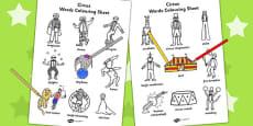Circus Words Colouring Sheet