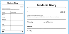 Kindness Diary Activity Sheet