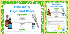 Edible Glitter Finger Paint Recipe