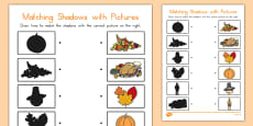 Thanksgiving Shadow Matching Activity Sheet