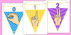 British Sign Language Numbers 0-20 Display Bunting (Signer's View)