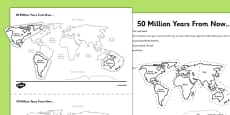 Tectonic Plates 50 Million Years from Now Activity Sheet