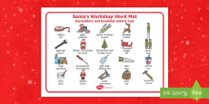 Santa's Workshop Word Mat English/Afrikaans