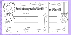 Australia - Mother's Day Certificates Colouring