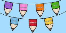 Colours on Pencil Bunting Portuguese