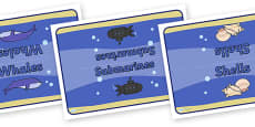 Editable Class Table Group Signs (Under the Sea)