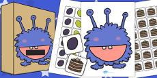 Hungry Monster and Food Picture Cards