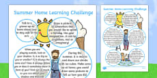 EYFS Summer Home Learning Challenge Sheet Nursery FS2