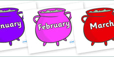 Months of the Year on Cauldrons (Multicolour)