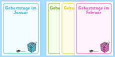 Editable Birthday Display Posters German