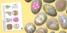 Easter Themed Story Stone Image Cut Outs