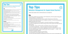 Behaviour Management Tips For Supply Teachers