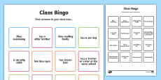 Class Welcome Transition Bingo Board