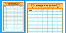 Challenge Sheet Recorder