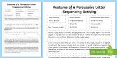 Persuasive Letter Sequencing Activity