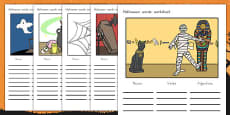 Halloween Verb Adjective Noun Picture Activity Sheets (Australia)