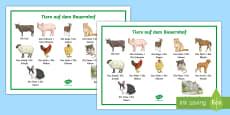 Tiere auf dem Bauernhof Wortschatz: Querformat