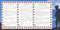 Australia - Remembrance Day Quiz Sheet
